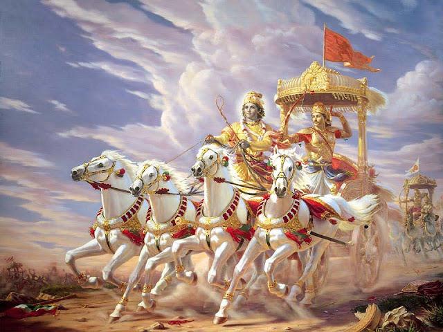 Mahabharat Ki Kahani महाभारत के युद्ध के दौरान अर्जुन का रथ चलाते भगवान हुवे श्री कृष्ण।