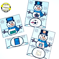 Snowman Math Stations, Winter Math Stations, Shapes, Planet Happy Smiles