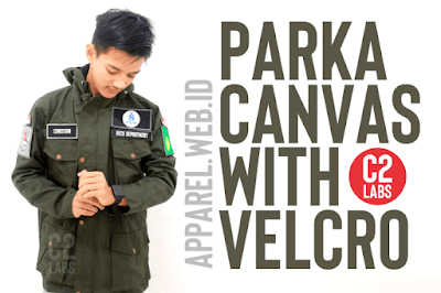 Custom Parka Jacket Army Dengan Bordir Plus Velcro Bahan Canvas