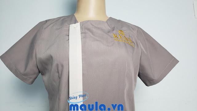 Đồng Phục Spa May Vải Cotton Lạnh có mẫu Thêu Logo Miễn Phí