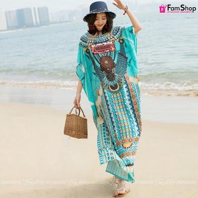 Váy maxi đi biển V491