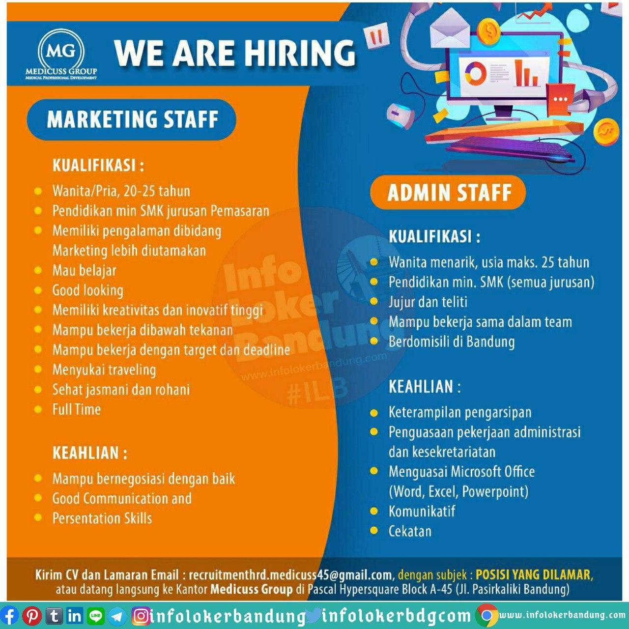 Lowongan Kerja CV. BUana Mandiri (Medicuss Group) Bandung Juni 2020