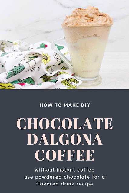 How to make a whipped coffee drink without instant coffee. This recipe uses chocolate powder instead of coffee for a chocolate Dalgona coffee or chocolate whipped coffee recipe. Make flavored whipped coffee drinks like chocolate, strawberry, banana, or hot fudge sundae.  This is an easy iced drink that's perfect for kids! #whippedcoffee #drink #chocolate #recipe