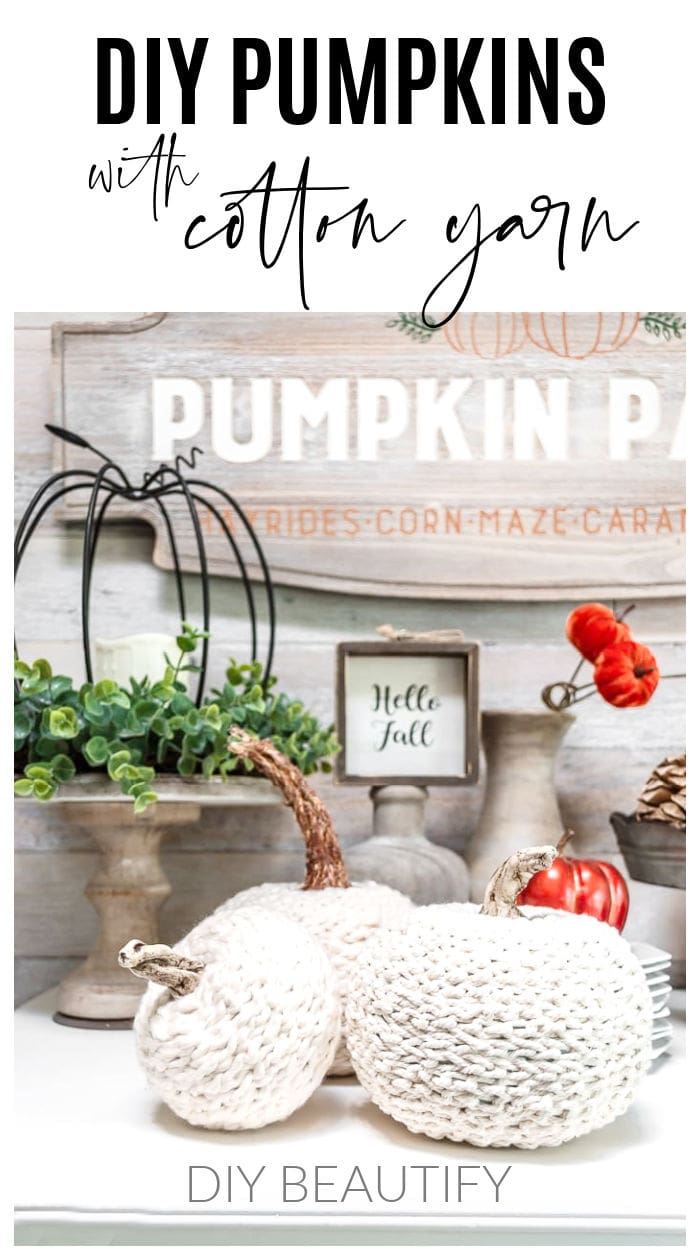cotton crochet chain pumpkins with neutral wood decor and copper and rust pumpkins