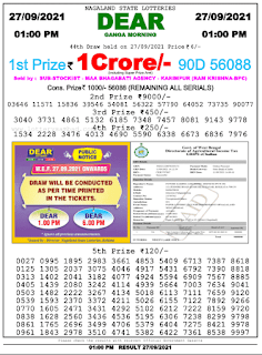 Lottery Sambad Today Monday, September 27, 2021 1 pm result