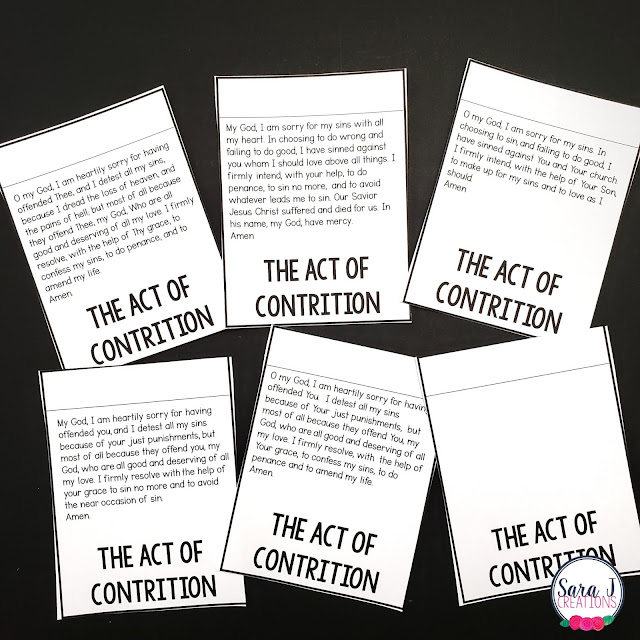 Different options for the act of contrition make this lapbook customizable to your needs.