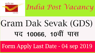 India Post 2019 Recruitment: 10066 Vacancy Gram Dak Seva (GDS) Posts