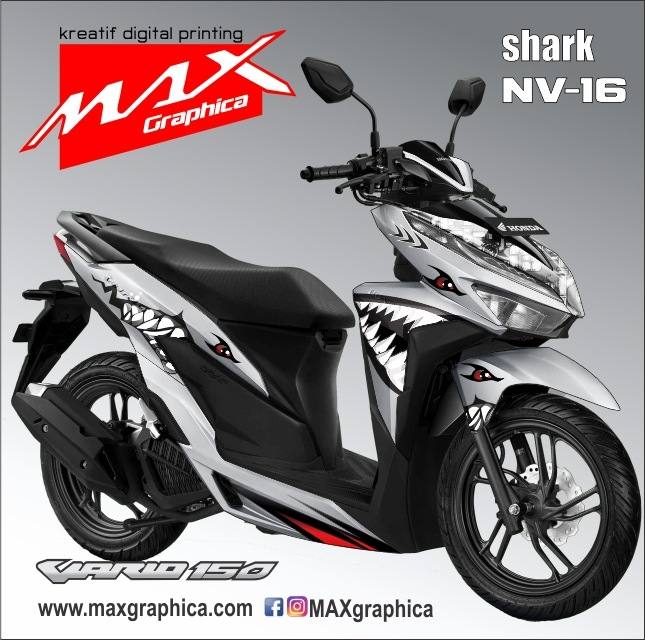 pasang stiker New Vario Shark custom desain suka suka sidoarjo surabaya