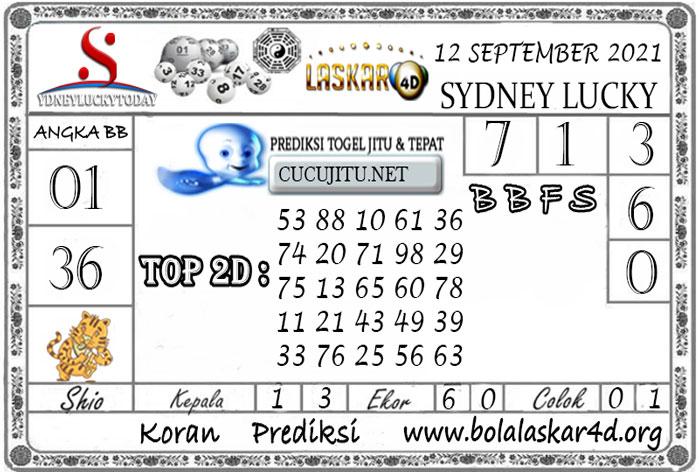 Prediksi Togel Sydney Lucky Today LASKAR4D 12 SEPTEMBER 2021