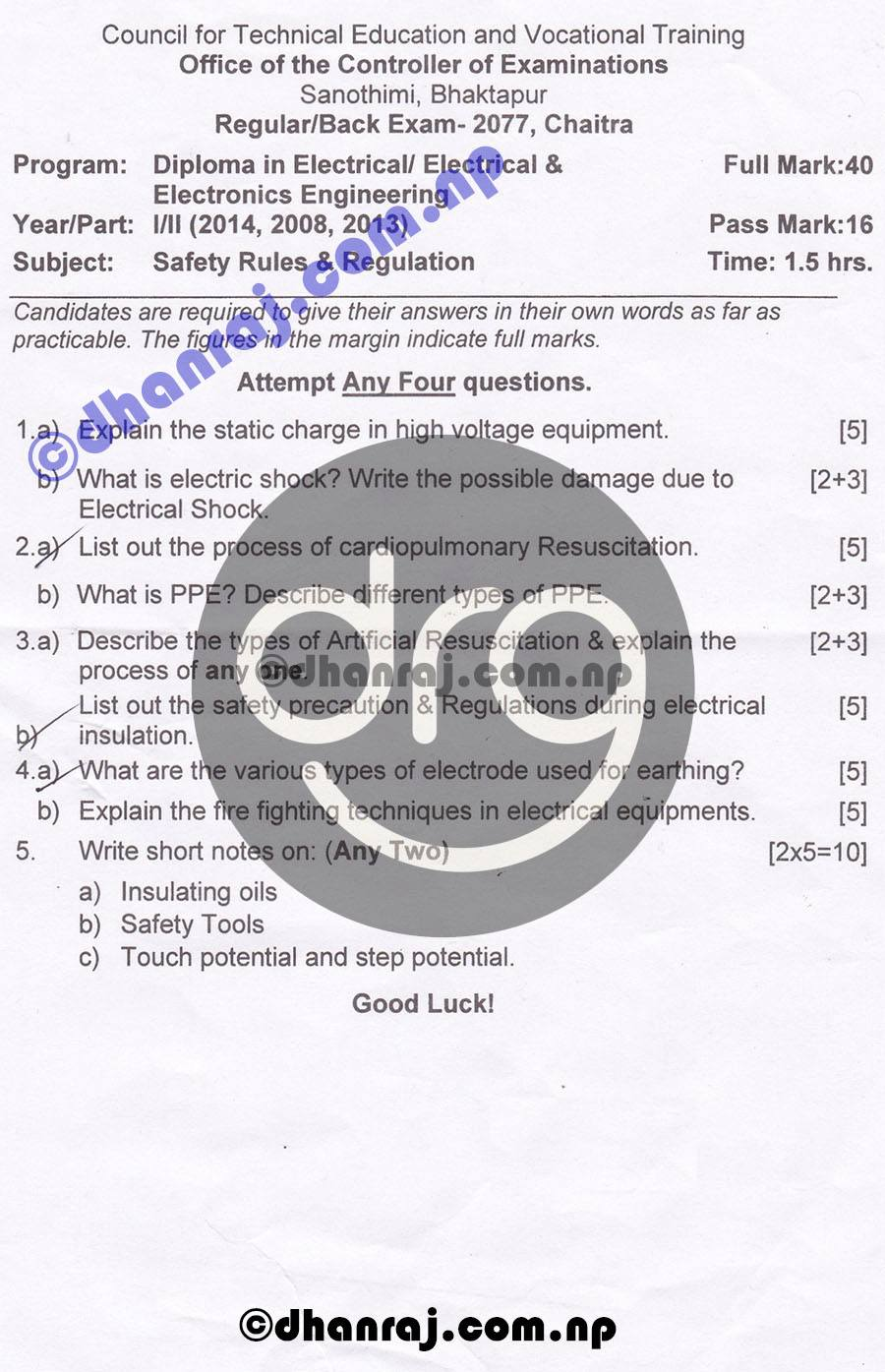 Safety-Rules-and-Regulation-Question-Paper-2077-CTEVT-Diploma-1st-Year-2nd-Part
