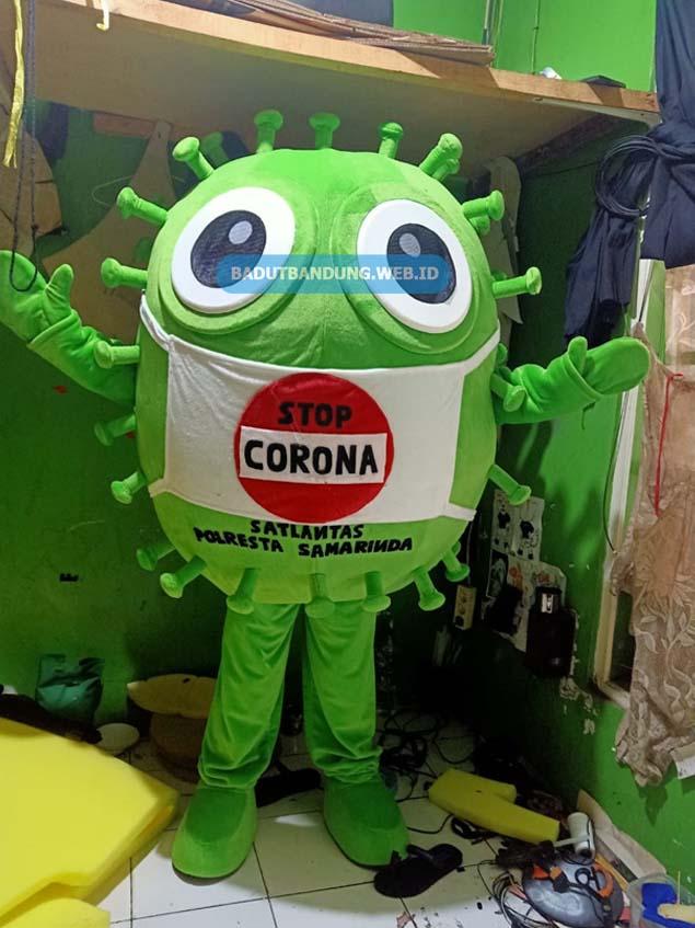Kostum badut stop corona maskot satlantas samarinda