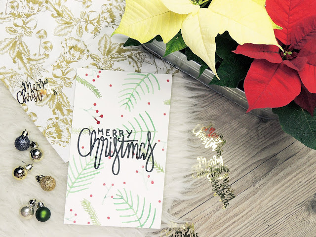 Self made Christmas Card hand lettering merry Christmas blogmas glitter is black