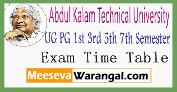 UP AKTU UG PG 1st 3rd 5th 7th Semester Exam Time Table 2017-18