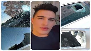 """بالفيديو و الصور : تهشيم سيارة محمد بن عمار من قبل فتاة بعد ان وصفها بالـ""""بطية""""و الـ""""..... ة"""" في بث مباشر"""