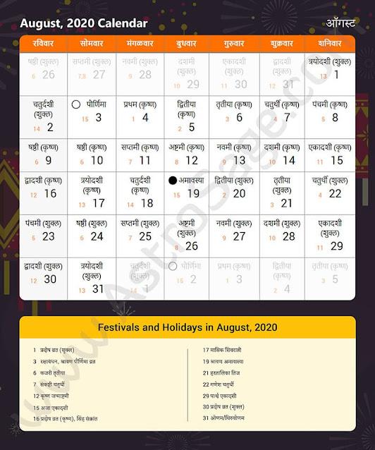 Marathi Calendar for August 2020