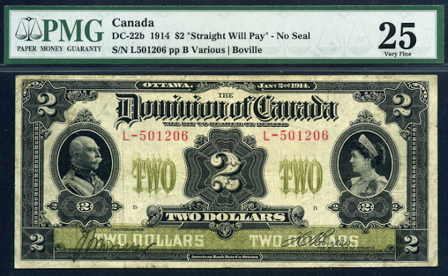 Dominion of Canada Two Dollars bill banknote currency