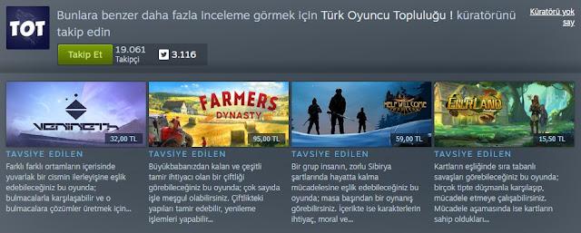 Steam Türk Oyuncu Topluluğu Küratör Sayfası