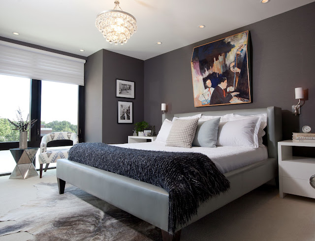 delightful mens bedroom ideas with modern gray bed completed with beautiful crystal chandelier and black accent wall