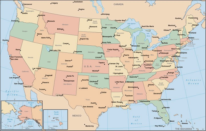 Map Showing States Only - Us map states only