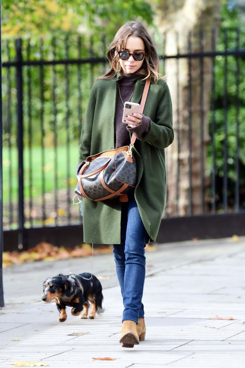 Emilia Clarke Clciked Outside with Her Dog in London 1 Nov-2020