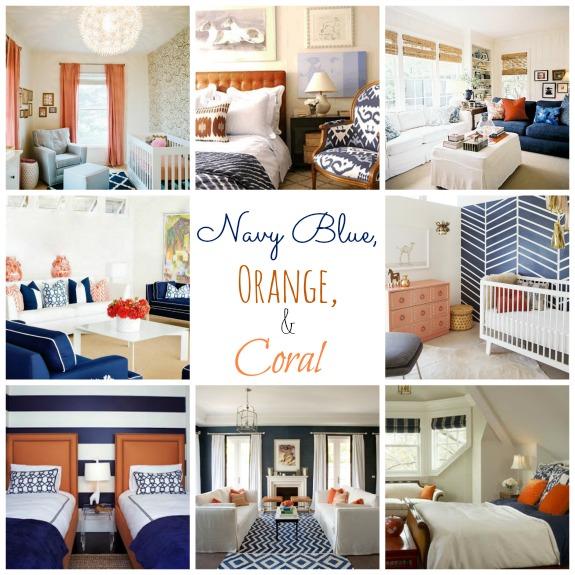 navy blue and orange living room | Gopelling.net