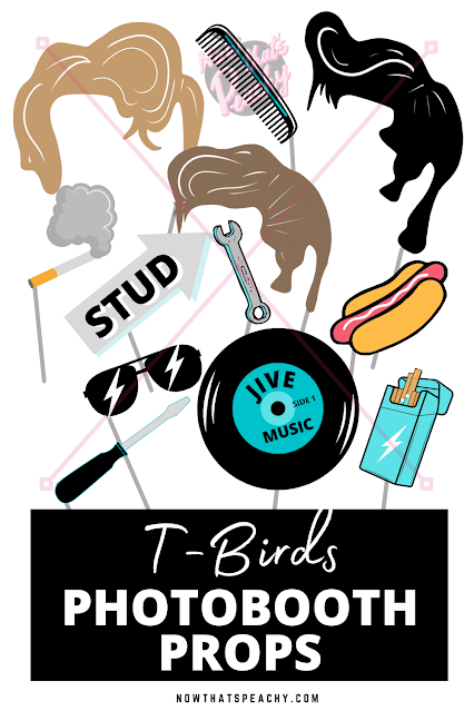 T-Birds birthday party photobooth props greaser grease movie printable