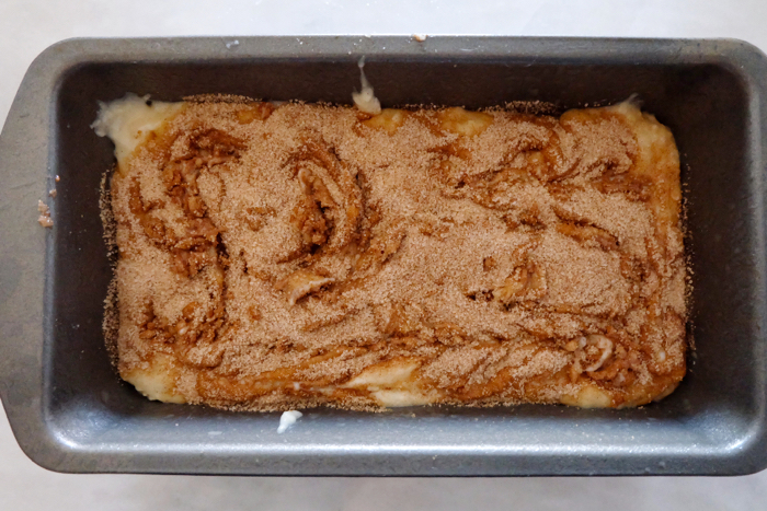 batter in loaf pan ready to bake