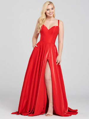 Ellie Wilde A-line Red Color Prom Dress