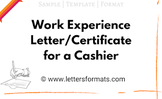 Work Job Experience Letter Certificate Sample for Cashier