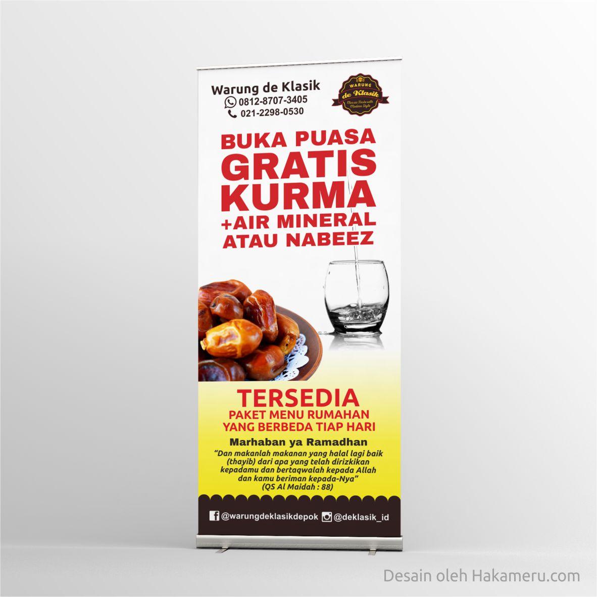 Desain roll up banner (roll banner) untuk warung de Klasik Depok - Jasa desain grafis online Hakameru
