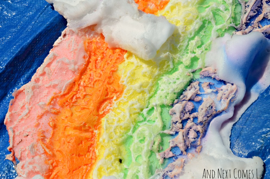 Close up of giant shaving cream rainbow after it sat in the sun for a day from And Next Comes L