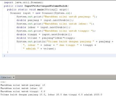Belajar Java Programming Memperoleh Input Dari User