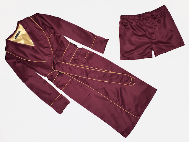 mens burgundy silk robe and boxer shorts dressing gown pajamas set wine red maroon