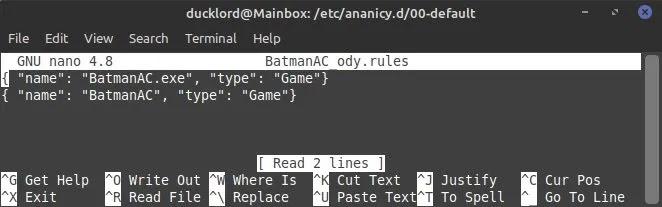 Ananicy Control Apps قاعدة باتمان مخصصة