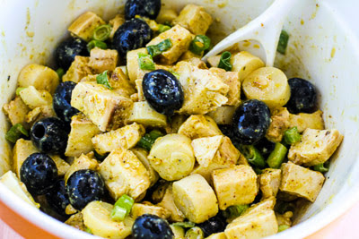 Chicken Salad with Mustard, Hearts of Palm, and Olives found on KalynsKitchen.com