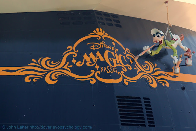 Figure of the Walt Disney cartoon character, Goofy, on the stern of the Disney Magic passenger cruise ship in the Port of Dover, UK. Ship was built in Italy and entered service in 1998. In Dover harbour during Coronavirus pandemic, Covid-19 travel restrictions.