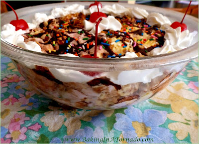 Banana Split Pie and Parfait: All the flavors of summer in this dessert that can be served as a parfait or frozen as a pie | Recipe developed by www.BakingInATornado.com | #recipe #dessert