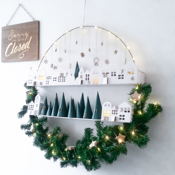 diy christmas village wreath advent