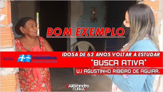 Bom exemplo: Idosa de 62 anos voltar a estudar após Busca Ativa realizada pela escola Agustinho Ribeiro de Aguiar.