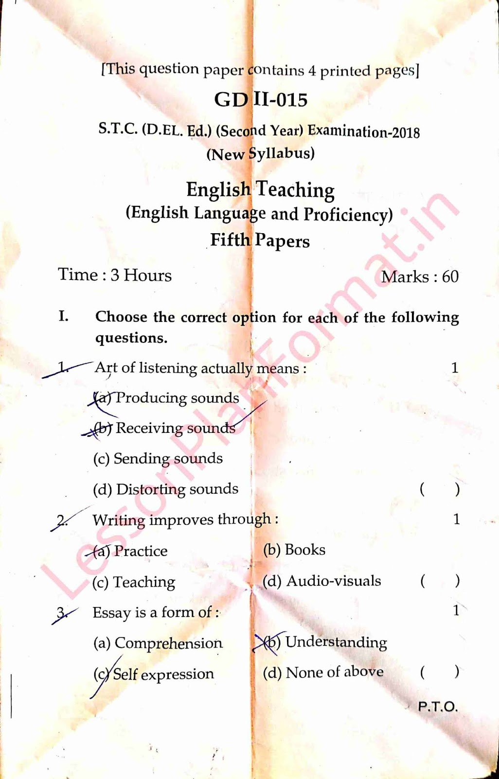 Deled Second Year 5th Old Paper 2018