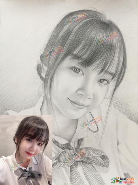 vẽ chân dung chì làm quà tặng bạn gái