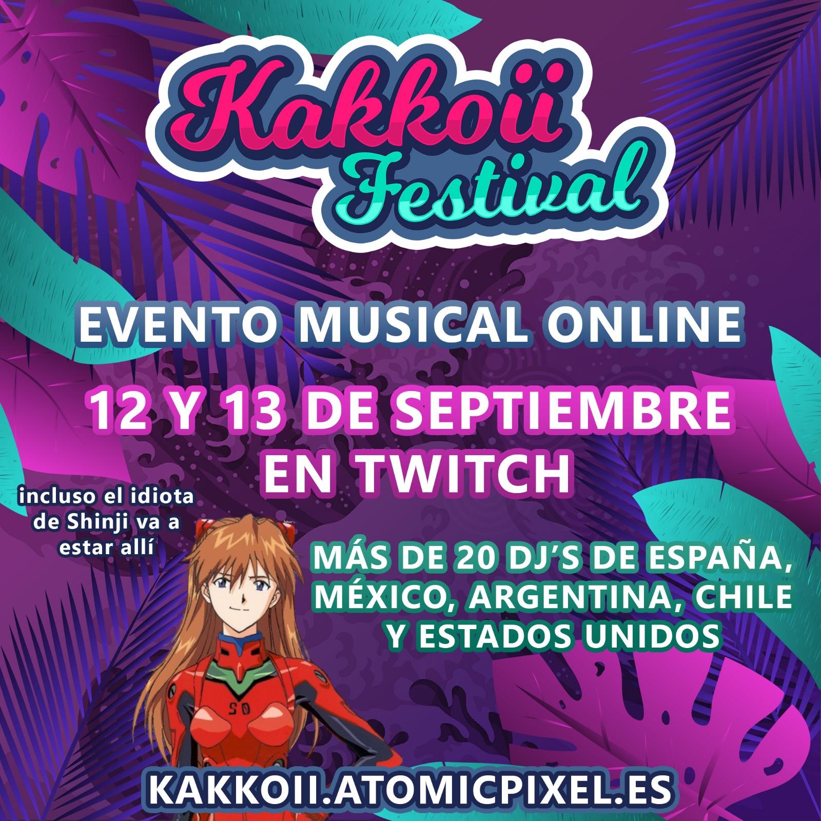 Imagen anunciando el Kakkoii Festival con la imagen de Asuka de Evangelion