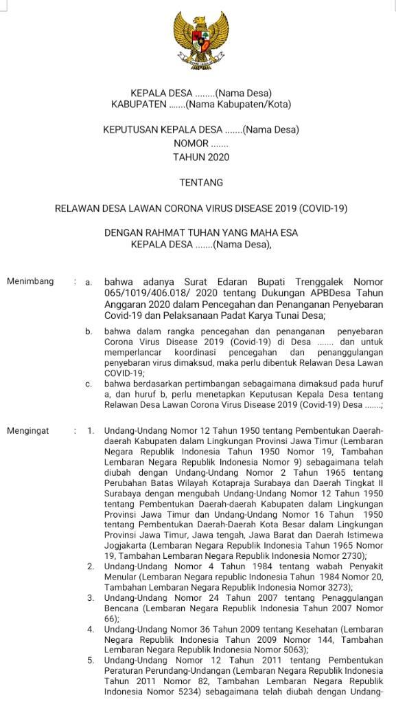 Contoh SK Relawan Covid-19 (SK Relawan desa lawan corona virus disease 2019)