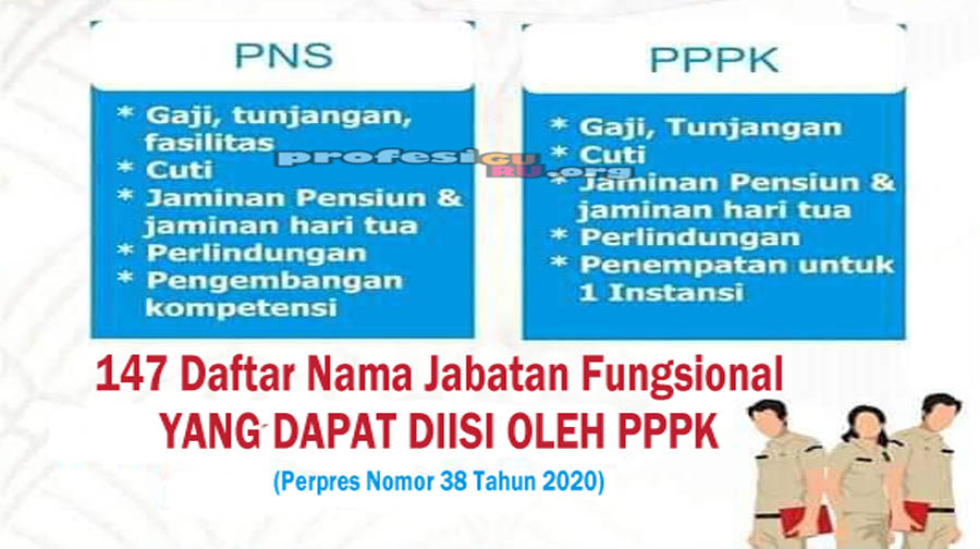 Berikut 147 Daftar Nama Jabatan Fungsional yang Dapat Diisi oleh PPPK atau P3K sesuai dengan Perpres Nomor 38 Tahun 2020
