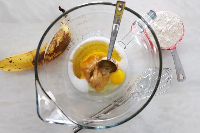 wet ingredients in large bowl prep
