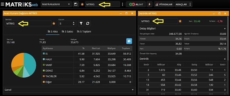 Matriks Web Trader Aracı Kurum Dağılımı ve Derinlik Ekranı