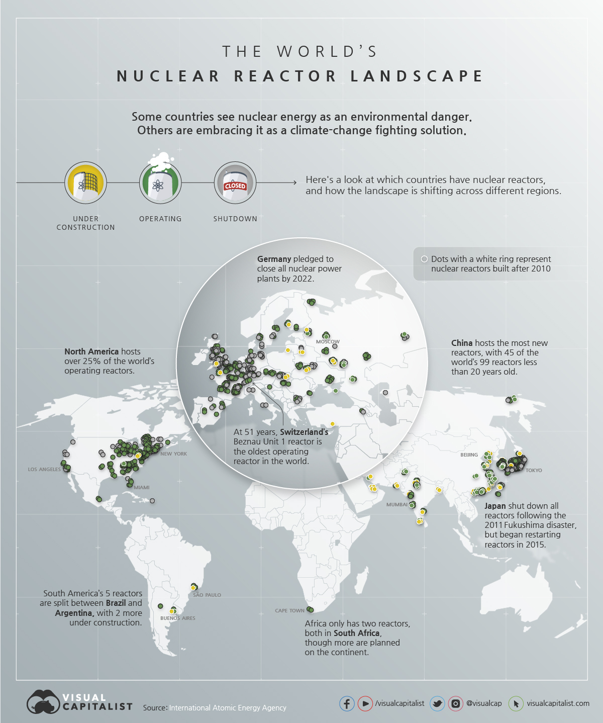 Mapped: The World's Nuclear Reactor Landscape #Infographic