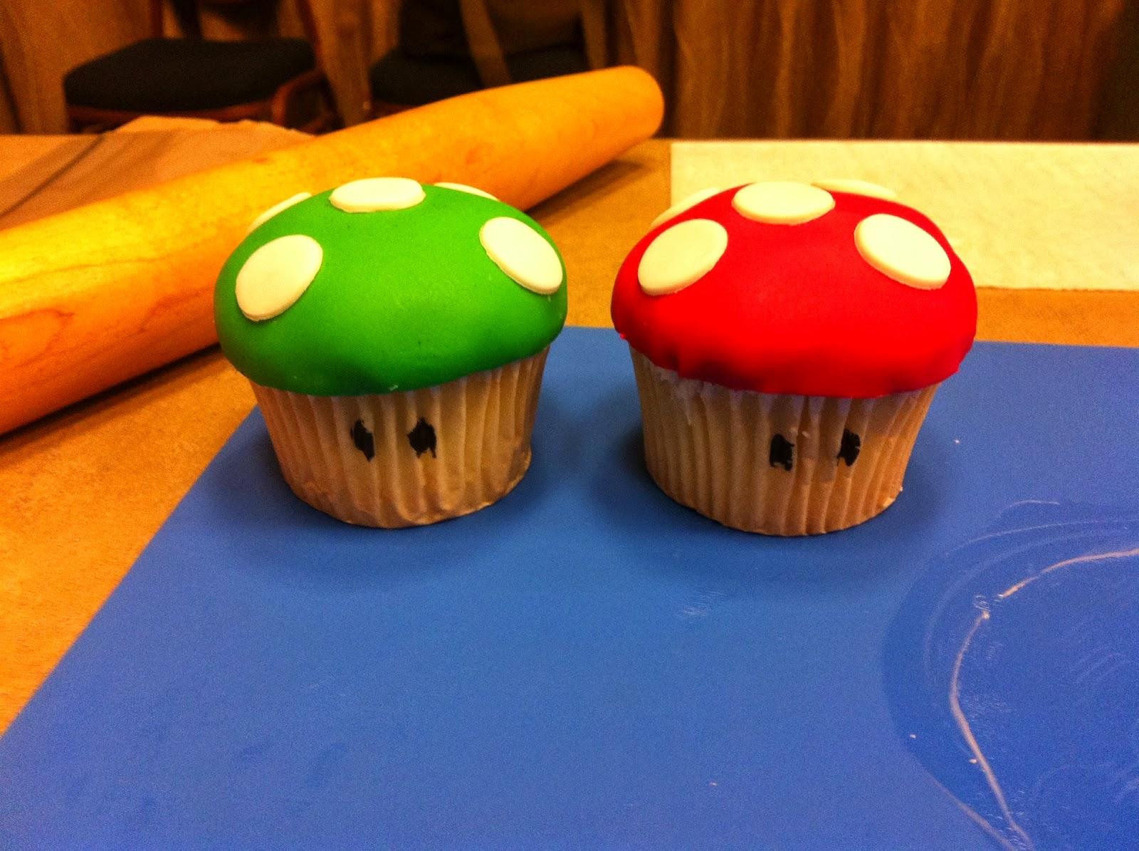 My 1-Up Mushroom cupcakes