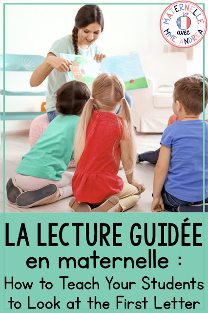 Kindergarten students have so many reading strategies to learn before they become independent readers! If you're looking for some tips for teaching your French maternelle or première année students how to look at the first letter of an unknown word, check out this blog post.