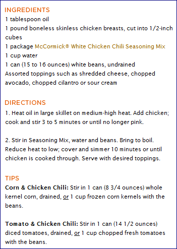 Country Cooking Recipes: White Chicken Chili Recipe from